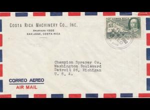 Costa Rica: 1952: San Jose Machinery to Detroit