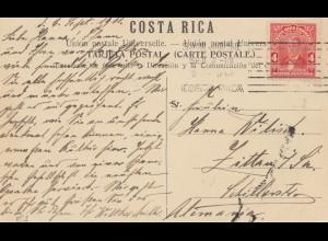 Costa Rica: 1911: Post card Monumento Nacional San Jose to Zittau