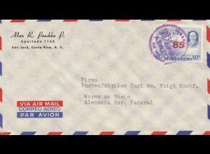 Costa Rica: 1952: San Jose - Aero to Worms