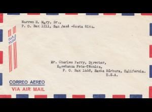 Costa Rica: Air Mail San Jose to Santa Barbara