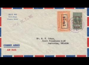 Costa Rica: 1954: air mail San Jose to Amsterdam via KLM