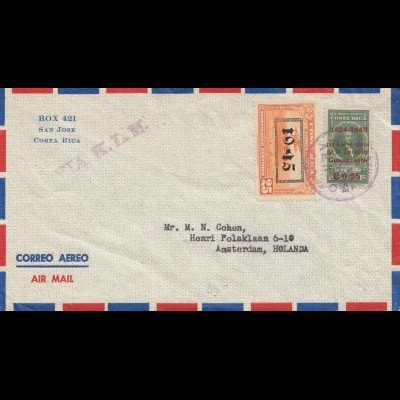 Costa Rica: 1954: air mail San Jose to Amsterdam via KLM