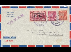 Costa Rica: 1952: San Jose via KLM to Amsterdam - Holland