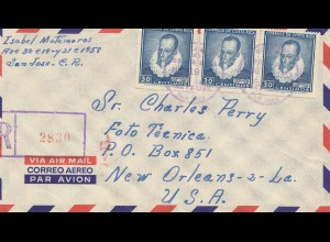 Costa Rica: 1953: Registered San Jose to New Orleans-2-LA.