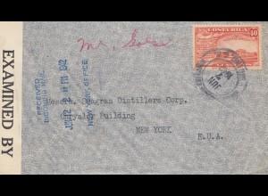 Costa Rica: 1942: San Jose to New York - censor
