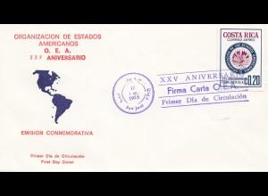 Costa Rica: 1973: FDC Oranizacion de Estados Americanos