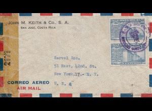 Costa Rica: 1943: San Jose to New York, censor