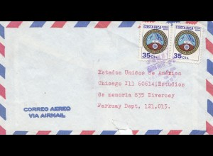 Costa Rica: 1970: air Mail to Chicago