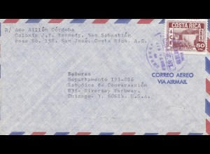 Costa Rica: 1970: air Mail Colonia J.F. Kennedy to Chicago