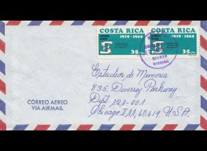Costa Rica: 1970: air mail Quesadn to Chicago