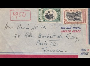 Costa Rica: 1950: Air Mail to Paris