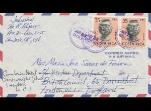 Costa Rica: 1964: San Jose to London - forwarded