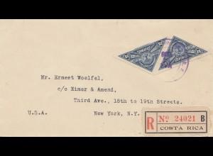 Costa Rica: 1936: Registered San Jose to New York