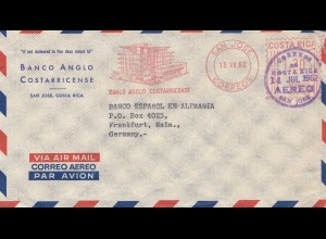 Costa Rica: 1962: San Jose Bankco Anglo Costarricense to Frankfurt