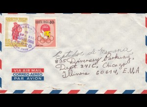 Costa Rica: 1966: San Jose air mail to Chicago
