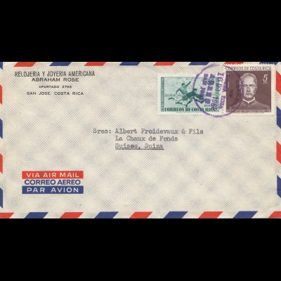 Costa Rica: 1966: San Jose to La Chaux de Fonds Switzerland - Aero Transatlantic