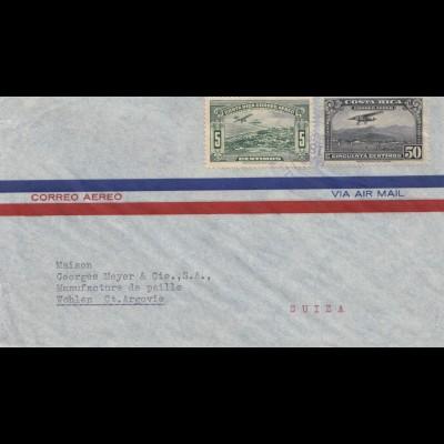 Costa Rica: 1938: San Jose to Wohlen Ct. Argovie/Switzerland