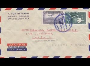 Costa Rica: 1955: San Jose to Köln via air mail