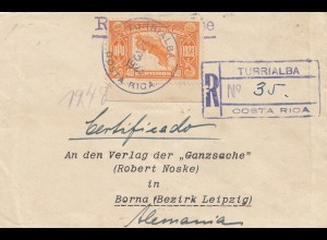 Costa Rica: 1923: Turrialba Registered to Borna/Leipzig