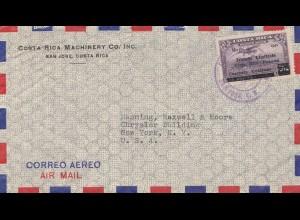 Costa Rica: air mail San Jose to NY - USA