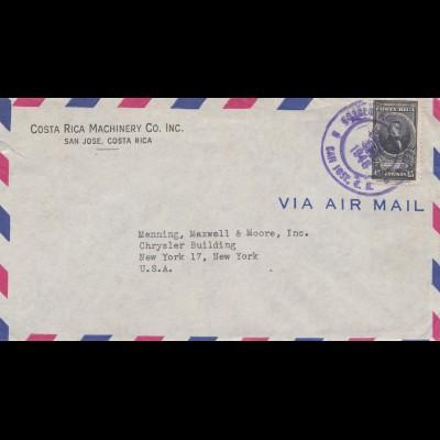 Costa Rica 1946: San Jose to New York - via Air Mail