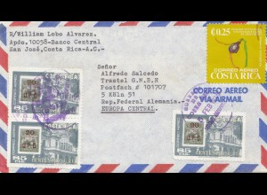 Costa Rica 1977 San Jose to Köln via air mail