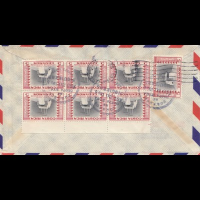 Costa Rica: 1955: air mail to Los Angeles