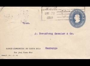 Costa Rica: 1909: San Jose Banco Comercial to Hamburg