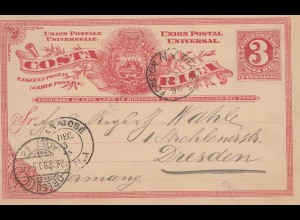 Costa Rica: 1890: post card San Jose to Dresden