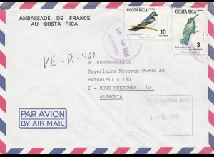 Costa Rica: 1985: Air Mail Ambassade de France to München - BMW