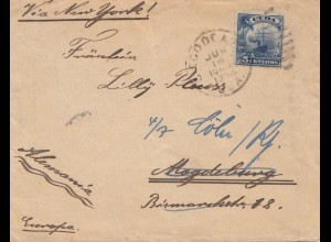 1904: letter via New York to Magdeburg - forwarded to Köln