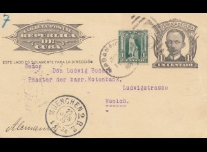 1905: post card Havana to München, bayrische Notenbank