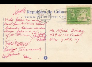 1945: Habana post card Marine Park to New York
