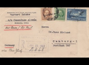 1933: Registered Habana Consulado Alemán to Hamburg via New York