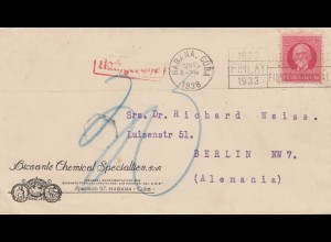 1938: Habana Finlay to Berlin, Nachgebühr