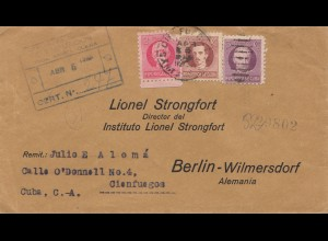 1933: registered letter to Strongfort in Berlin