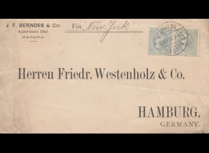 1896: letter Haban via New York to Hamburg