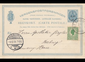 Dansk-Vestindien: 1909 St. Thomas post card to Dieburg/Germany