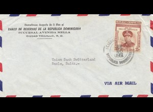Domenikanische Republik 1960: Banco Ciudad Trujillo to Basel; inverse date !!!