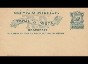 Domenikanische Republik: post card with answer card, unused, Servicio Interior