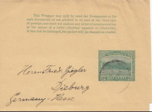 Domenikanische Republik: 1909: Wrapper to Dieburg