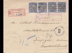 Domenikanische Republik: 1907: Registered to Germany via New York