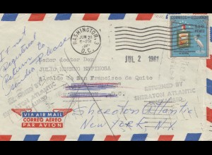 Ecuador: 1961 Pray for Peace: Air Mail to Washington, Returned Sheraton Atlantic