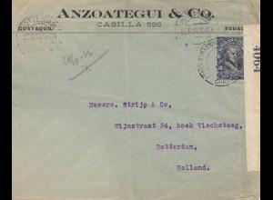 Ecuador: 1915: Cuayaquil to Rotterdam, censor