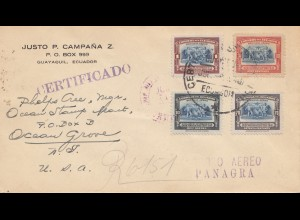 Ecuador: 1940: Guayaquil to USA, Certificado, FDC