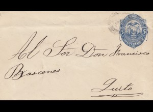 Ecuador: old letter to Quito, 140x81mm