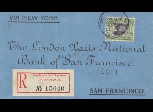 Ecuador: 1908: Registered Guayaquil to San Francisco