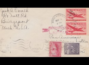 Ecuador: 1946: Quito - Bridgeport - Air Mail Test received