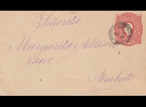 Ecuador: 1892: post card to Ambato