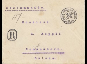 French colonies: Madagascar: 1915: letter registered to Romanshorn/Suisse